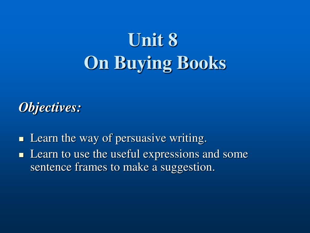 unit 8 on buying books l.