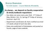 bronco bookstore fall 2009 update course materials affordability11