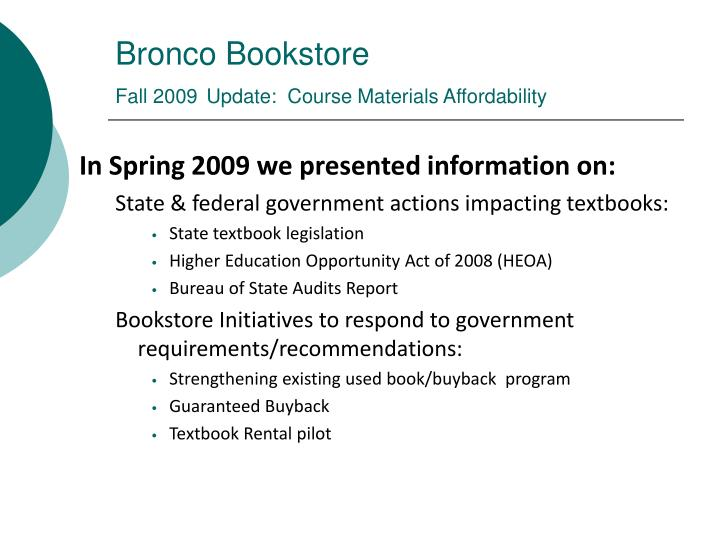 Bronco bookstore fall 2009 update course materials affordability2