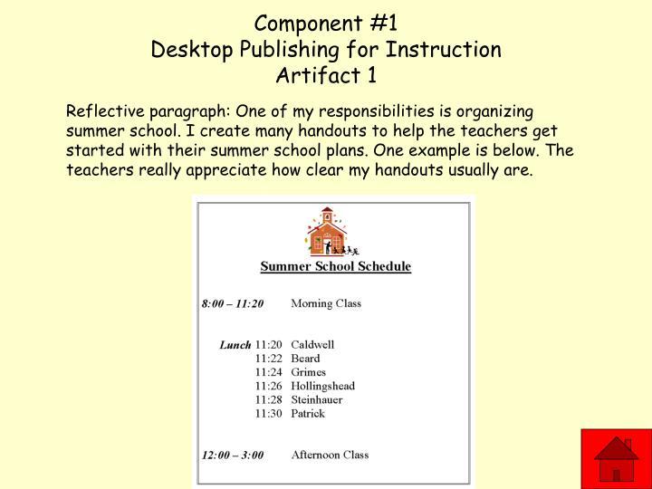 Component 1 desktop publishing for instruction artifact 1