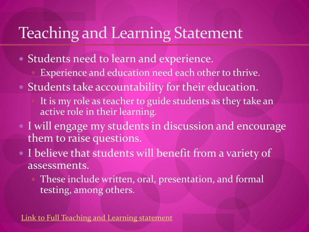 Teaching and Learning Statement