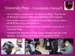 university prep community outreach