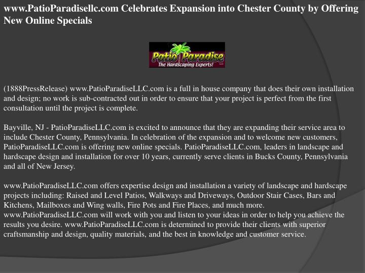 Www.PatioParadisellc.com Celebrates Expansion into Chester County by Offering New Online Specials