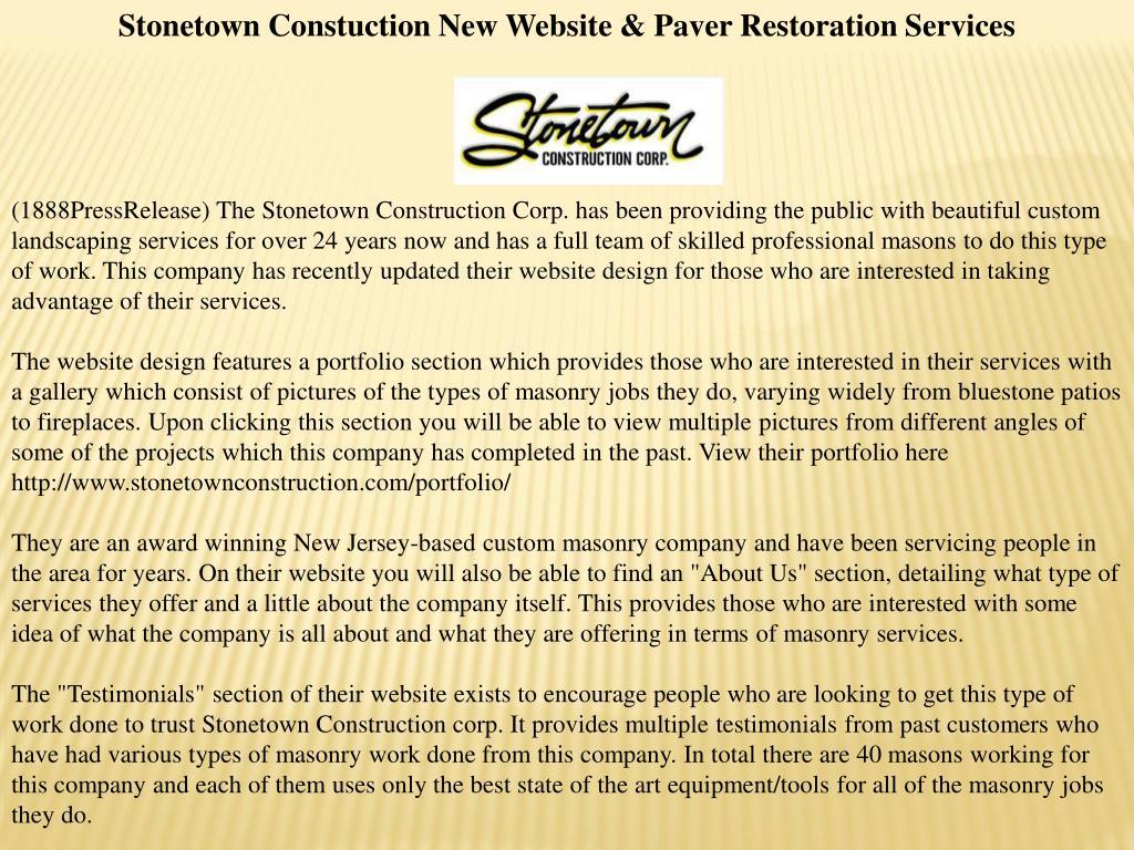 Stonetown Constuction New Website & Paver Restoration Services
