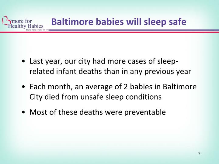 Last year, our city had more cases of sleep-related infant deaths than in any previous year