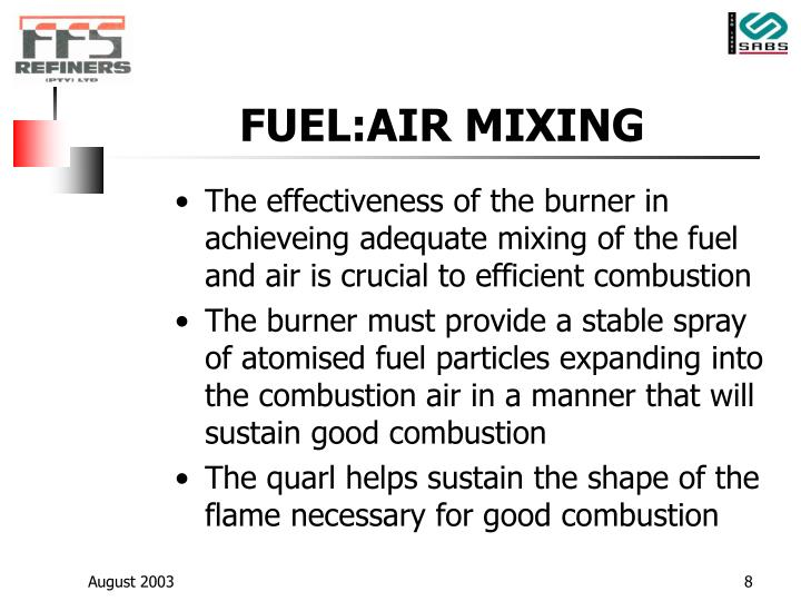 FUEL:AIR MIXING