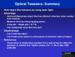 optical tweezers summary
