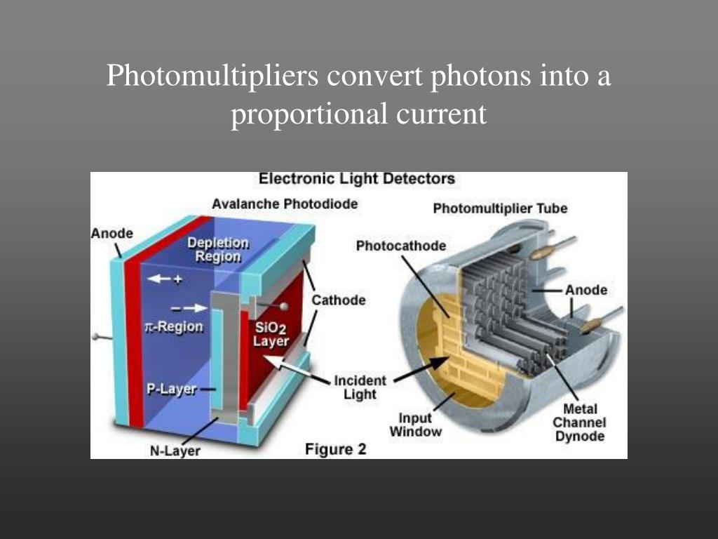 Photomultipliers convert photons into a proportional current