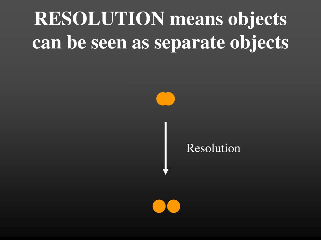 RESOLUTION means objects can be seen as separate objects