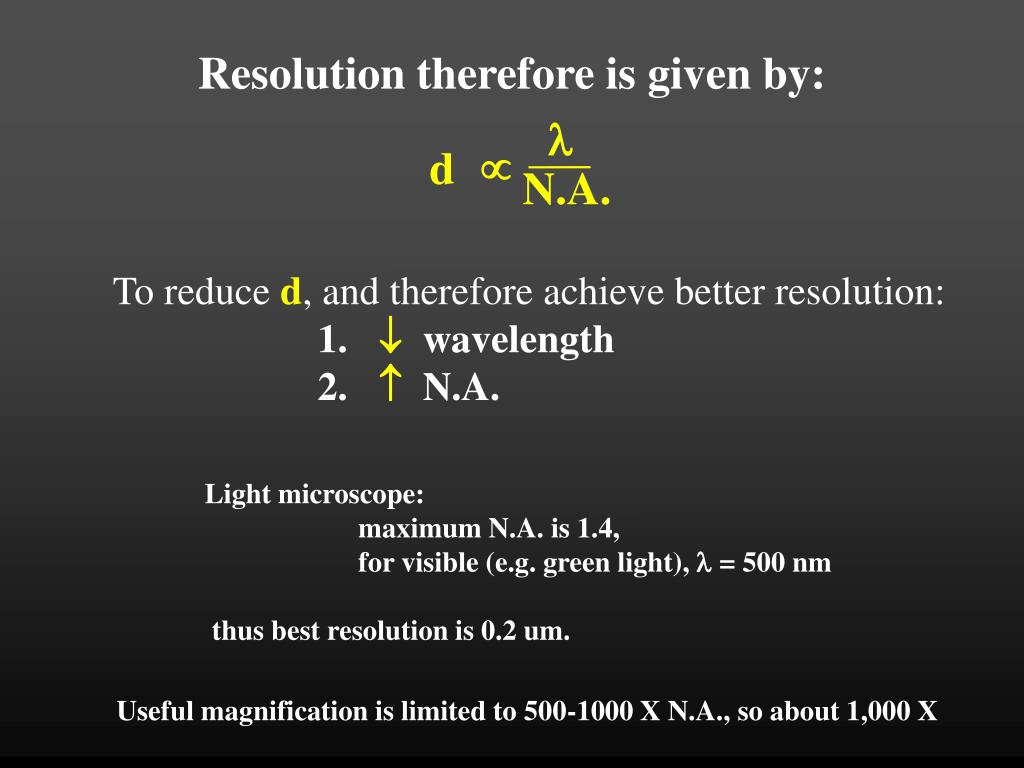 Resolution therefore is given by: