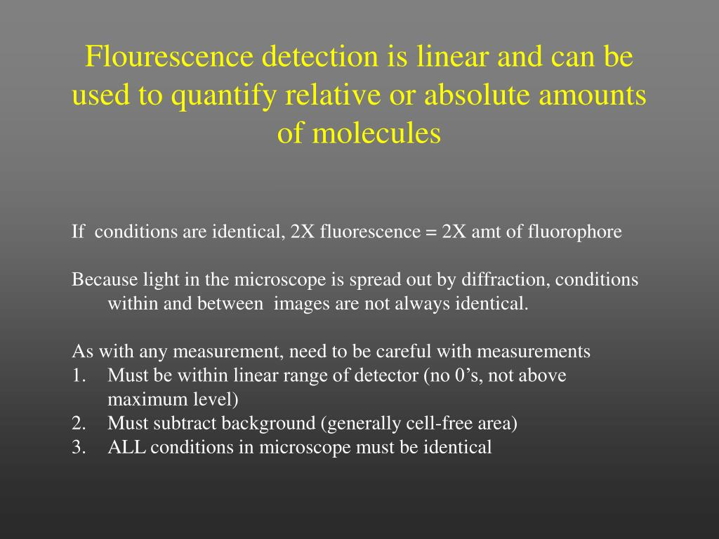 Flourescence detection is linear and can be used to quantify relative or absolute amounts of molecules