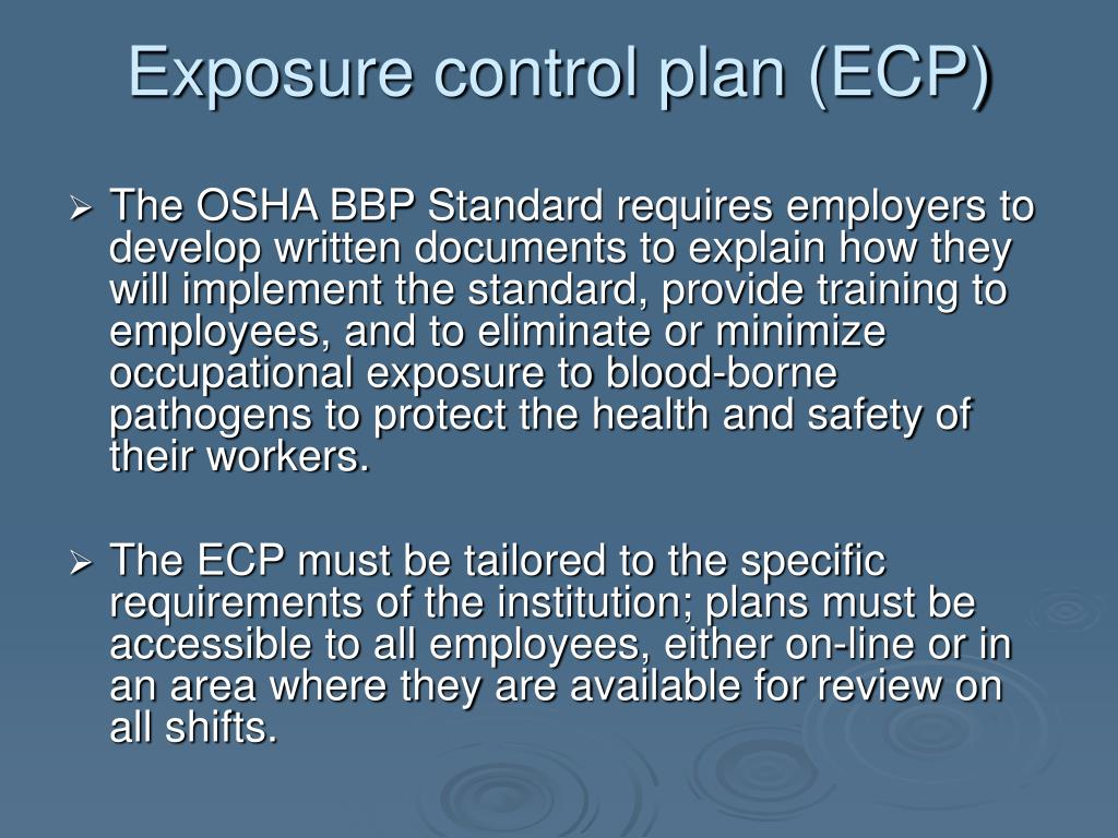 Exposure control plan (ECP)