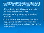 an approach to assess risks and select appropriate safeguards