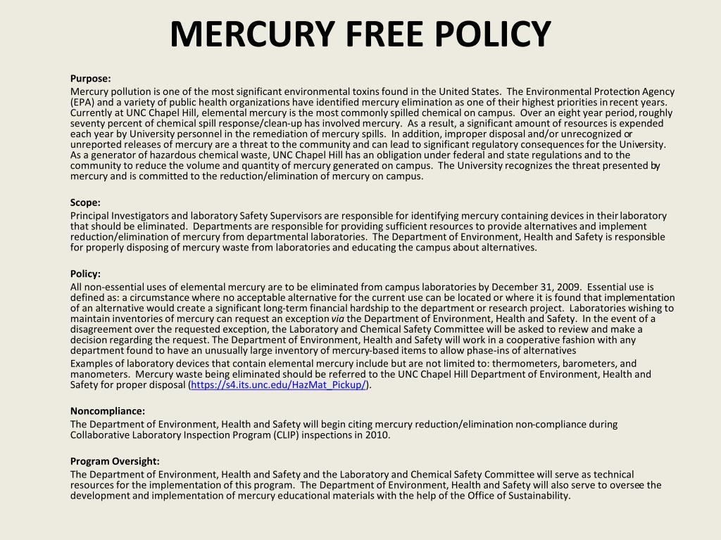 Mercury Free policy