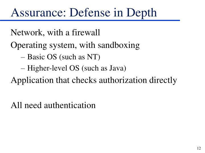 Assurance: Defense in Depth