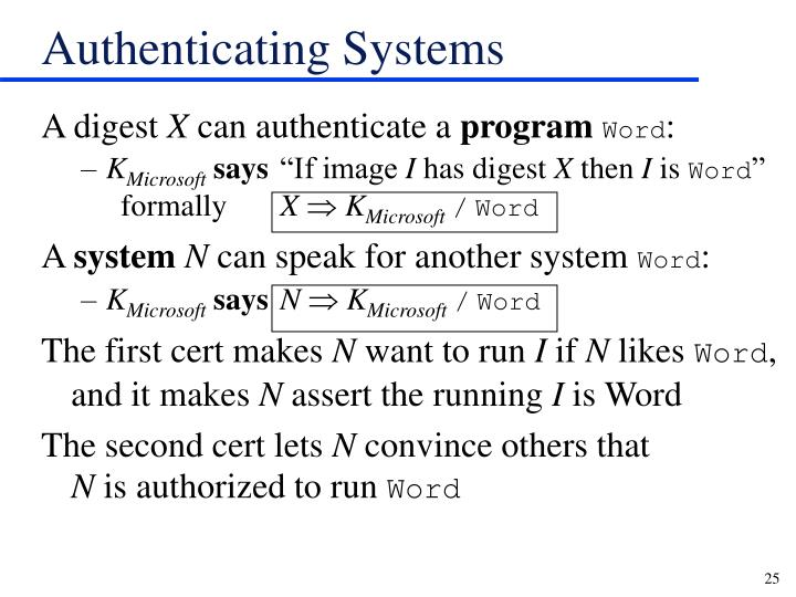 Authenticating Systems