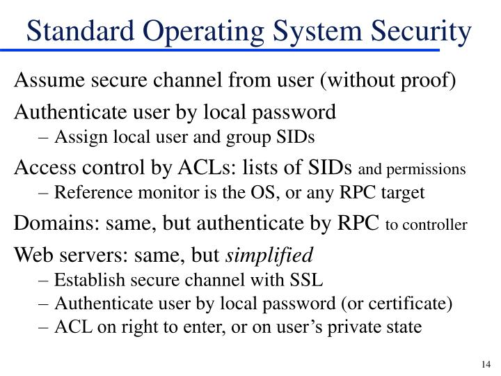 Standard Operating System Security