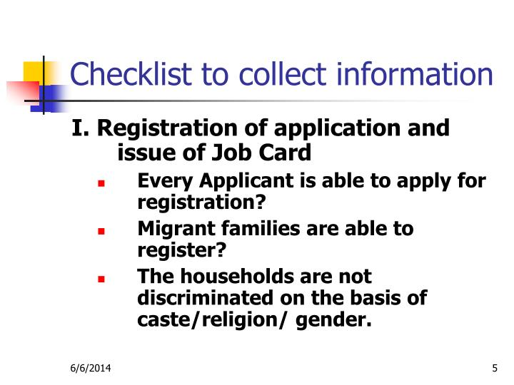 Checklist to collect information