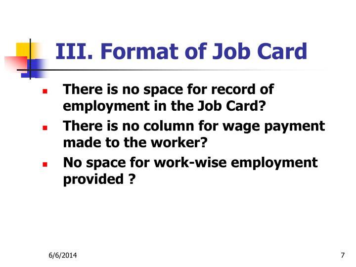 III. Format of Job Card