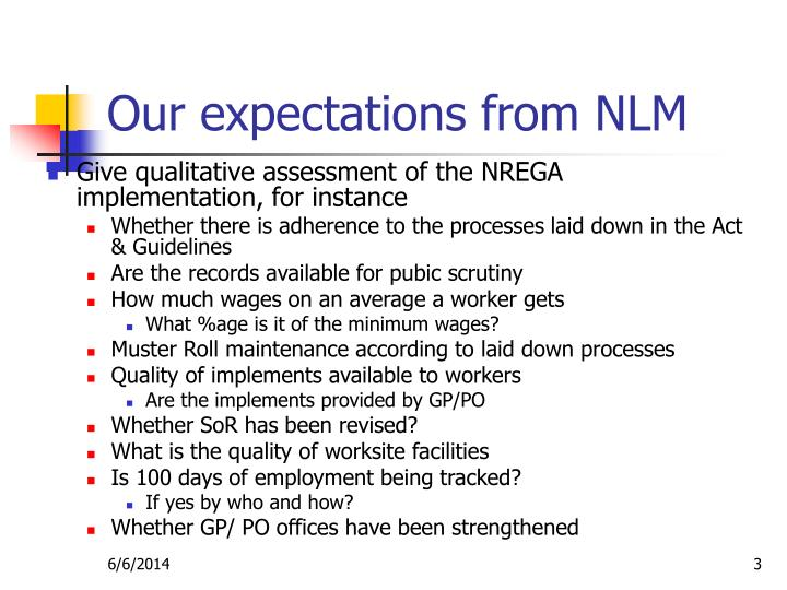 Our expectations from nlm