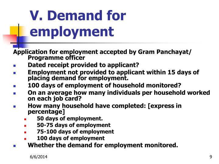 V. Demand for employment