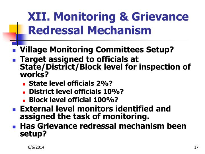 XII. Monitoring & Grievance Redressal Mechanism