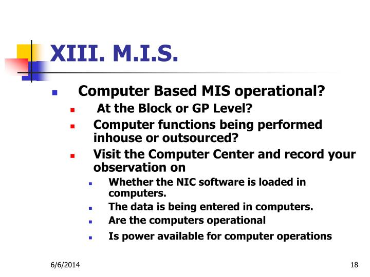 XIII. M.I.S.