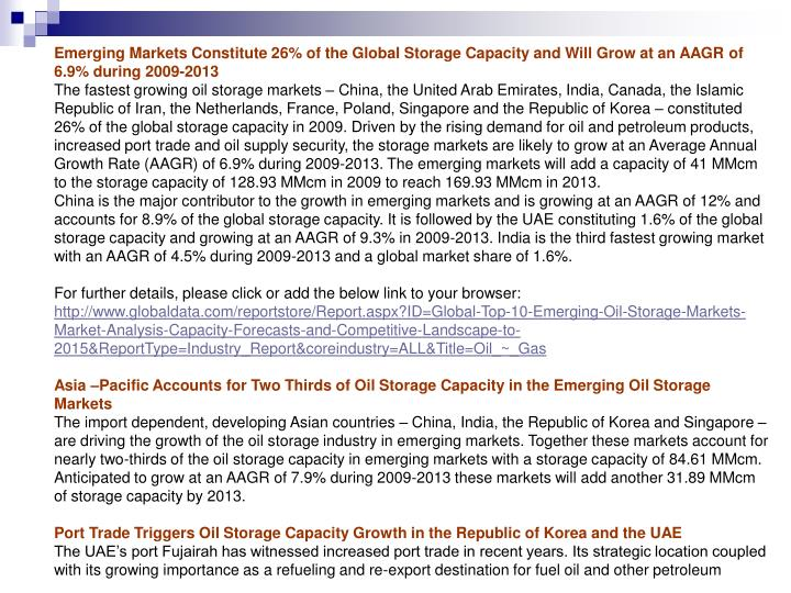 Emerging Markets Constitute 26% of the Global Storage Capacity and Will Grow at an AAGR of 6.9% duri...