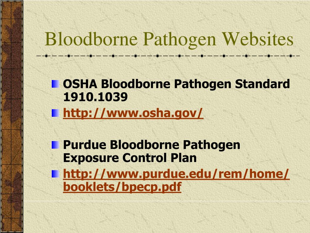 Bloodborne Pathogen Websites