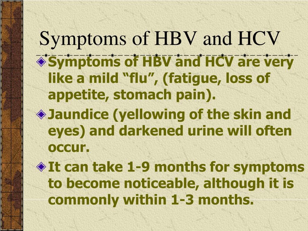 Symptoms of HBV and HCV