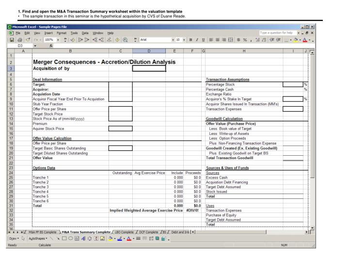 1. Find and open the M&A Transaction Summary worksheet within the valuation template