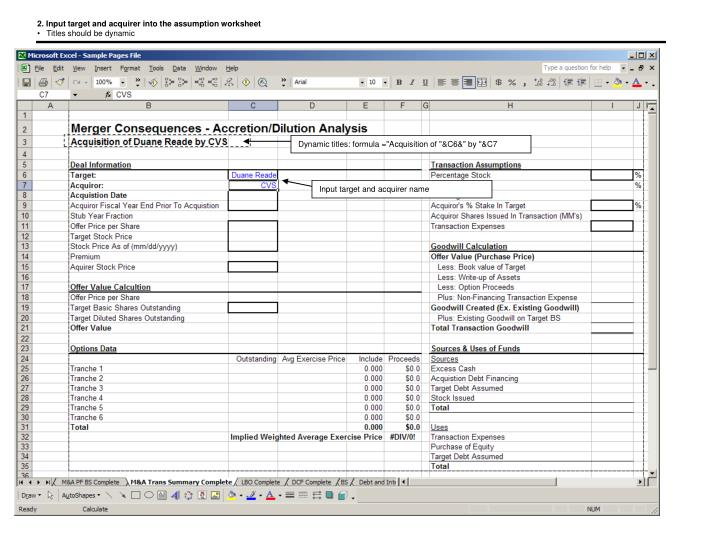 2. Input target and acquirer into the assumption worksheet