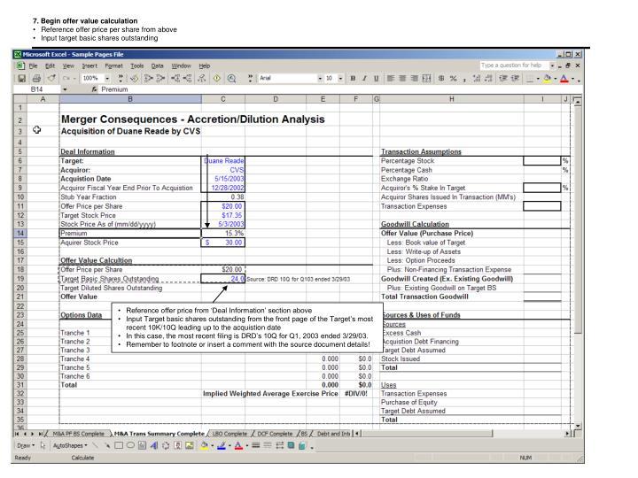 7. Begin offer value calculation