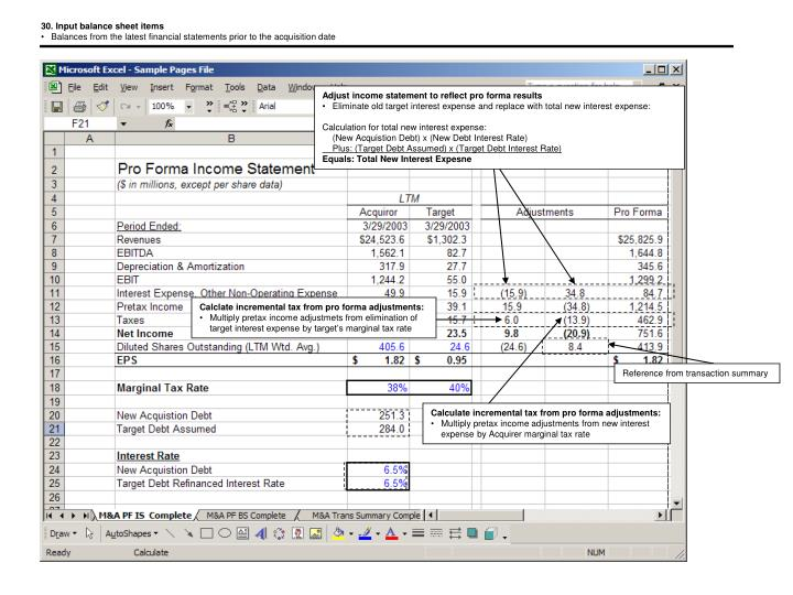 30. Input balance sheet items