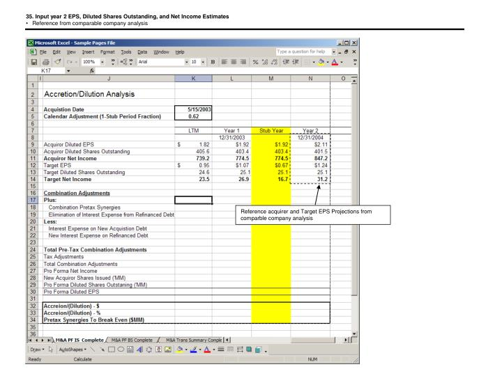 35. Input year 2 EPS, Diluted Shares Outstanding, and Net Income Estimates