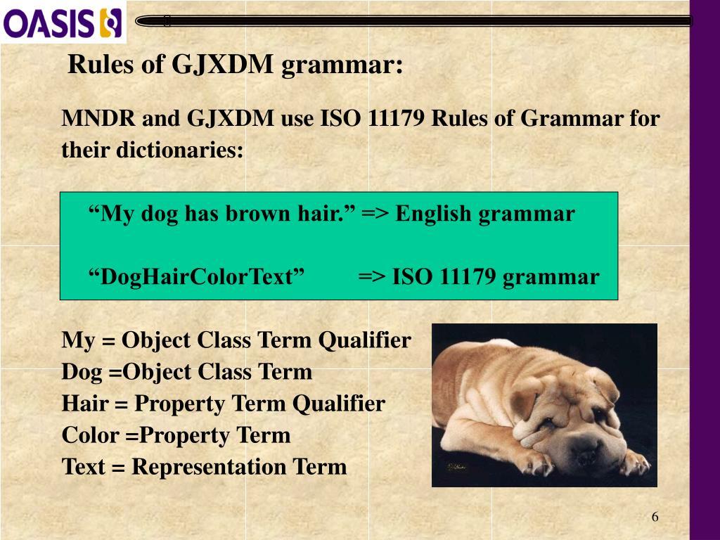 Rules of GJXDM grammar: