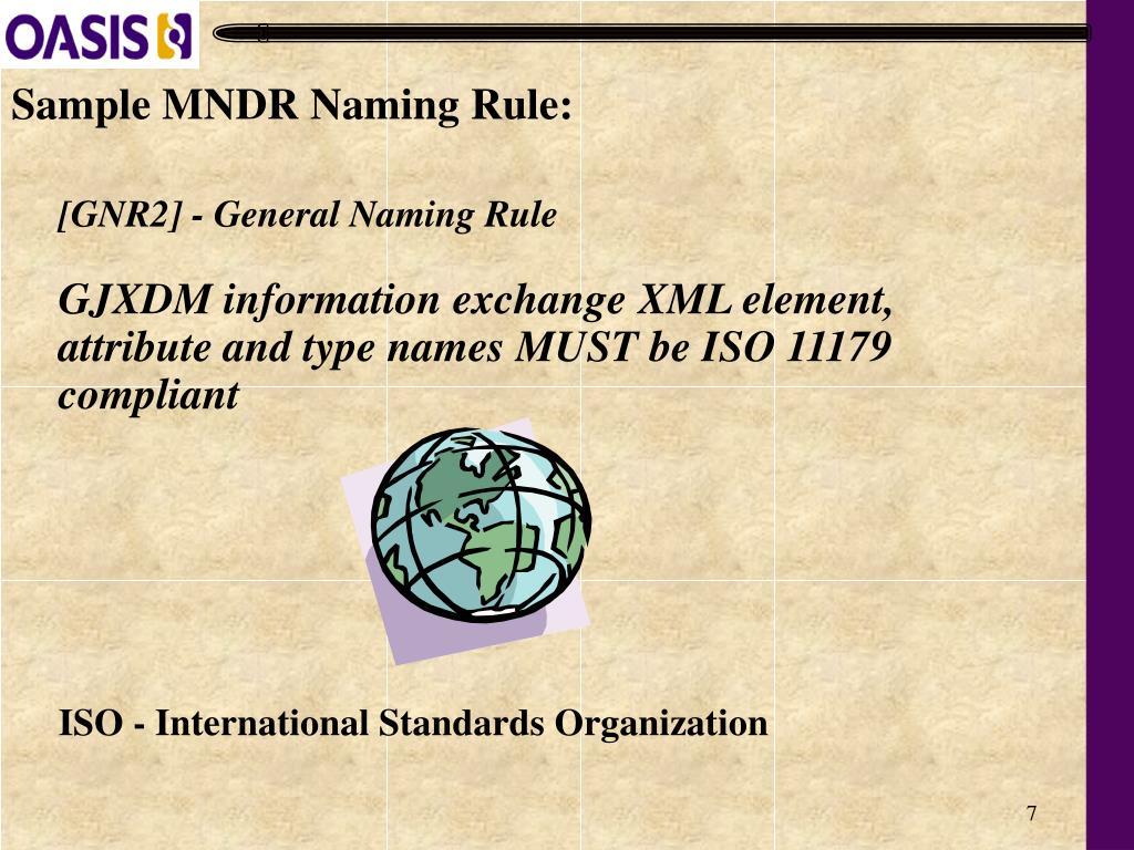 Sample MNDR Naming Rule: