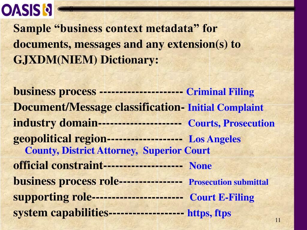 "Sample ""business context metadata"" for"
