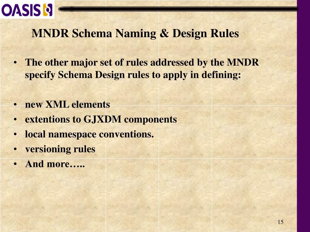 MNDR Schema Naming & Design Rules