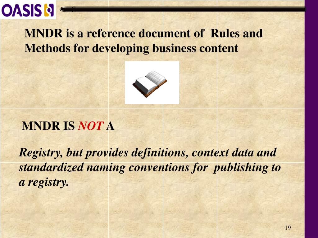 Registry, but provides definitions, context data and standardized naming conventions for  publishing to a registry.