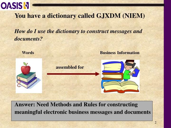 You have a dictionary called GJXDM (NIEM)