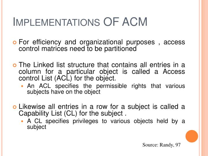 Implementations OF ACM