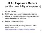 if an exposure occurs or the possibility of exposure