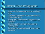 writing good paragraphs