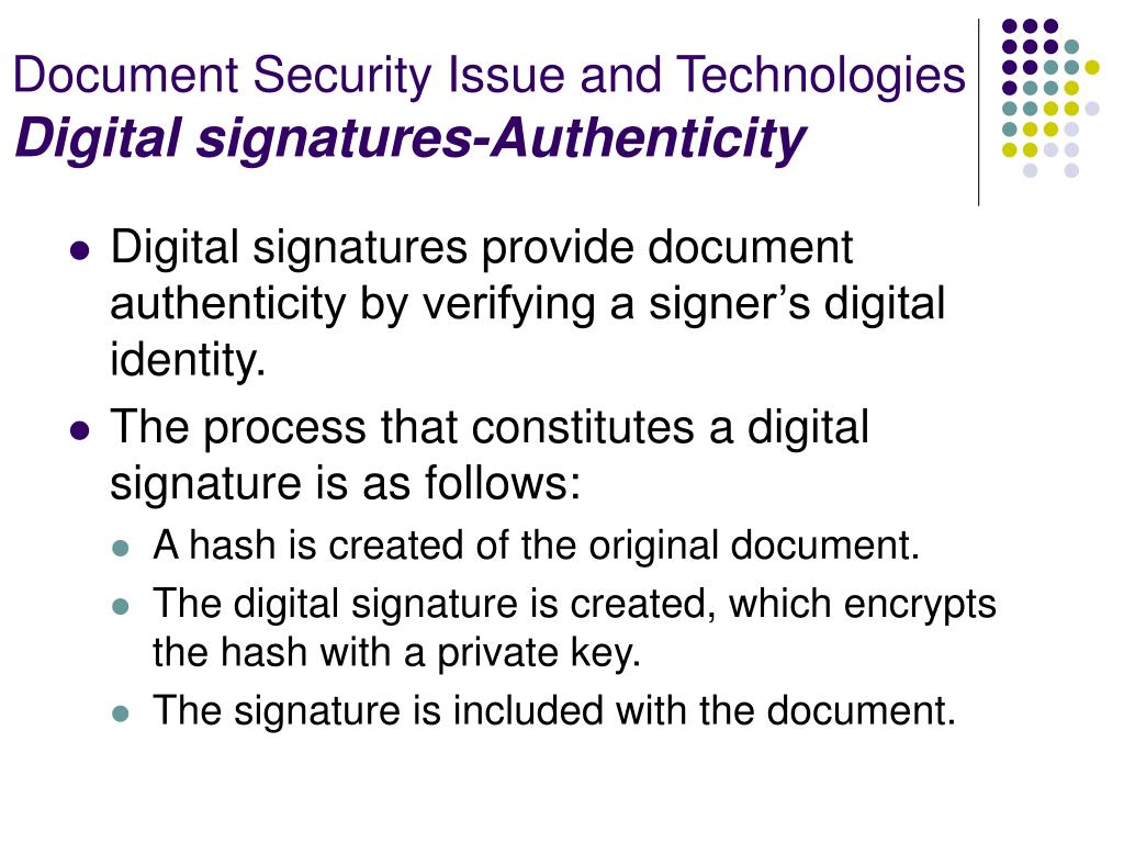 Document Security Issue and Technologies