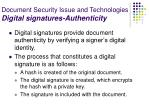 document security issue and technologies digital signatures authenticity