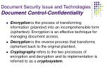document security issue and technologies document control confidentiality