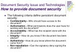 document security issue and technologies how to provide document security