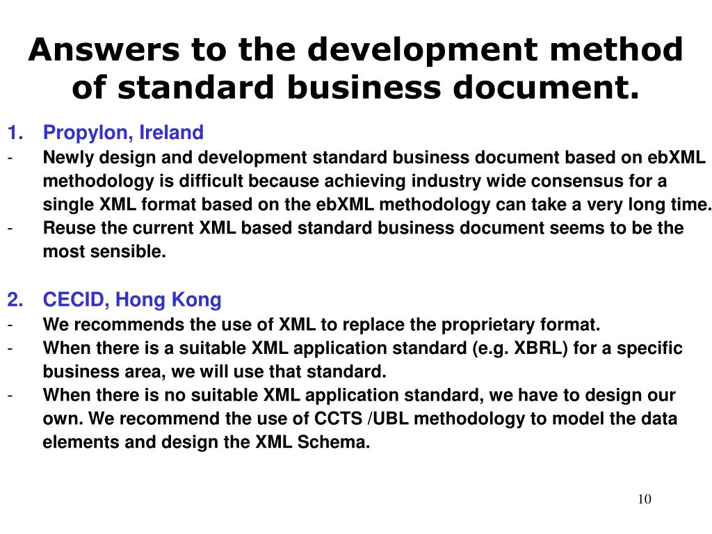 Answers to the development method of standard business document.