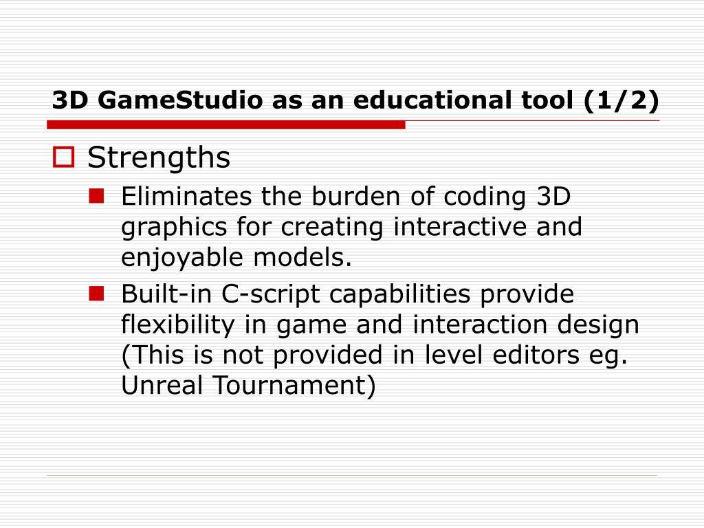 3D GameStudio as an educational tool (1/2)